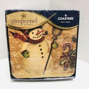 Pimpernel Drink 6 Coasters Cork Snowman Christmas